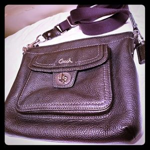 Pebbled black leather coach crossbody
